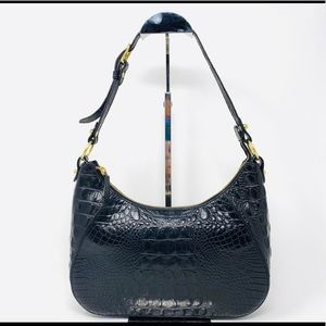 Brahmin croc embossed leather shoulder bag